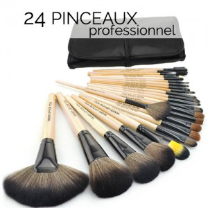 Pinceaux Professionnels Maquillage Yeux Visage 24 Pieces Bois naturel Set voyage Makeup