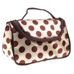 Trousse Maquillage Toilette Voyage Compartiment Zippee Makeup Pois Beige Marron