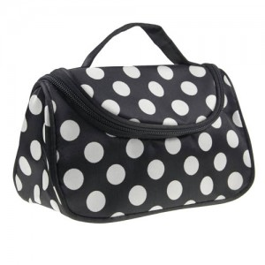 Trousse Maquillage Toilette Voyage Compartiment Zippee Makeup Pois Blanc Noir