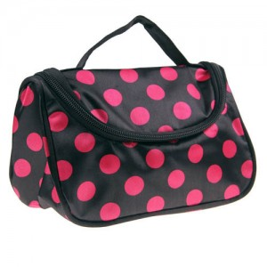 Trousse Maquillage Toilette Voyage Compartiment Zippee Makeup Pois Rose Noir