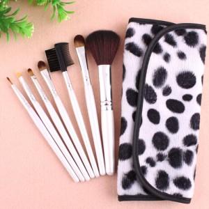 Kit 7 Pinceaux Maquillage Professionnel Visage Yeux avec trousse Pois Makeup