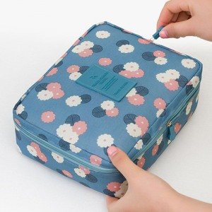Trousse Beaute Voyage Maquillage Compartiment Detachable Makeup Blue Flower