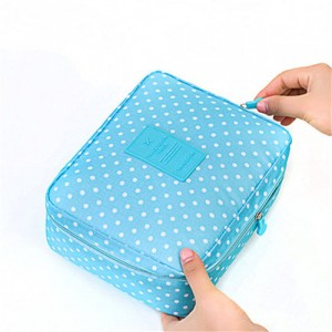 Trousse Beaute Voyage Maquillage Compartiment Detachable Makeup Pois Bleu