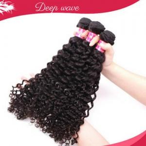 Extension Cheveux Bresilien Naturel Vierge Humain Deep WAVE Frise