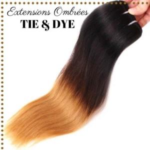 Extension Cheveux Bresilien Naturel Vierge Raide Lisse Ombre Tie Dye