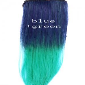 Extensions Cheveux Raide Tie & Dye Delave Colore Kylie Look Bleu Vert