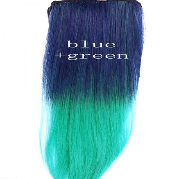 extensions cheveux raide tie dye delave colore kylie look bleu vert. Black Bedroom Furniture Sets. Home Design Ideas