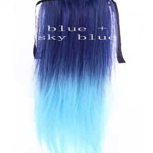 Extensions Cheveux Raide Tie & Dye Delave Colore Kylie Look Bleu