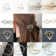 Barrette Cheveux Accessoire Bijou Dore Argente Lune Chat Diamant Rond