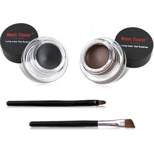 Lot 2 Gels Eyeliner Noir et Marron Professionnel Finish avec Pinceaux inclus Intense Drama Eyes