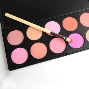 Palette Professionnelle 10 Fards Joues Blush Highlight Poudres Peachy Rose Neutre