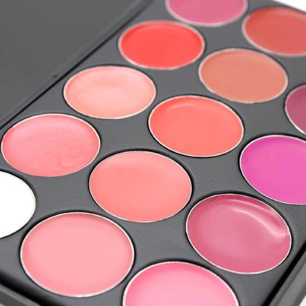 palette professionnelle 15 couleurs rouge gloss levres makeup lips glamour. Black Bedroom Furniture Sets. Home Design Ideas