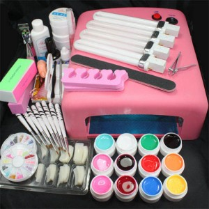 Ongles NAIL KIT professionnel Lampe Uv Perfect Manucure Complet 12 Gels Couleurs