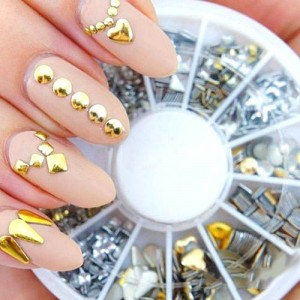 Pierres Decoratives Bijoux d'ongles Strass Dore Argent Metal Studds Nail Art Rock Boheme