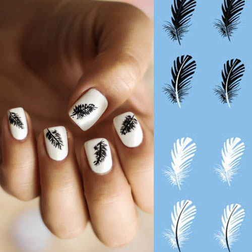 stickers vernis nail art ongles autocollant plumes noires. Black Bedroom Furniture Sets. Home Design Ideas