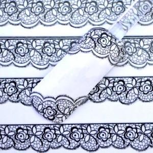 Stickers Vernis Nail Art Ongles Autocollant Dentelle Noire Fashion 2015