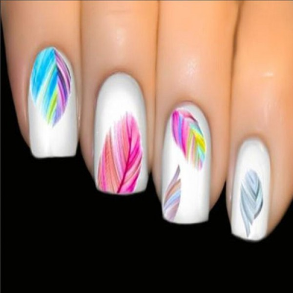 Vernis Nail: Stickers Vernis Nail Art Ongles Plumes Multicolores Boho