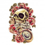 Tatouage Flash Body Tattoo Homme Latino Skull Tete de Mort Roses Freedom