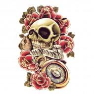 Tatouage Flash Body Tattoo Homme Latino Skull Tete de Mort Roses Freedom