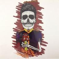 Tatouage Flash Body Tattoo Rock Skull tete de Mort mexicaine