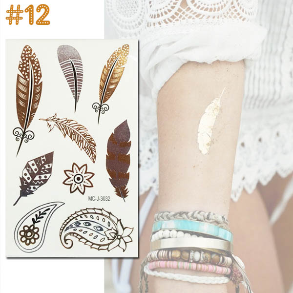 Tatouage ephemere fantaisie fashion summer glitter dore argente sticker 12 - Tatouage ephemere dore ...