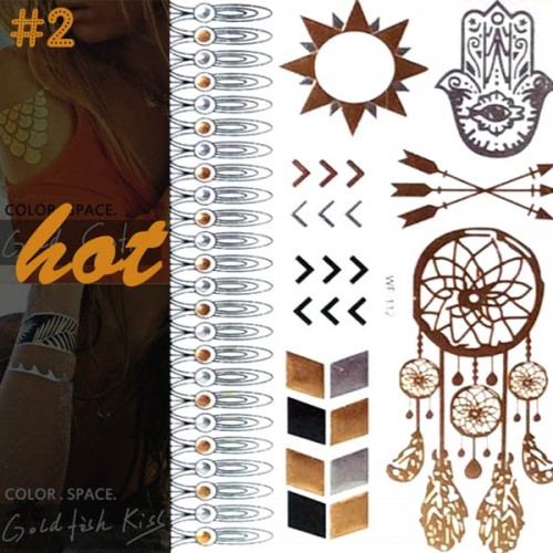 Tatouage ephemere fantaisie fashion summer glitter dore argente sticker 2 - Tatouage ephemere dore ...
