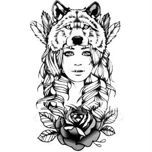 Tatouage Ephemere 21 Grand Visage Fille Loup Beauty Noir Dos Cuisse Flash Tattoo Fashion Sticker 21