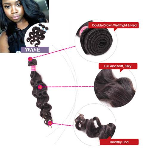 rajout ondulé cheveux humain