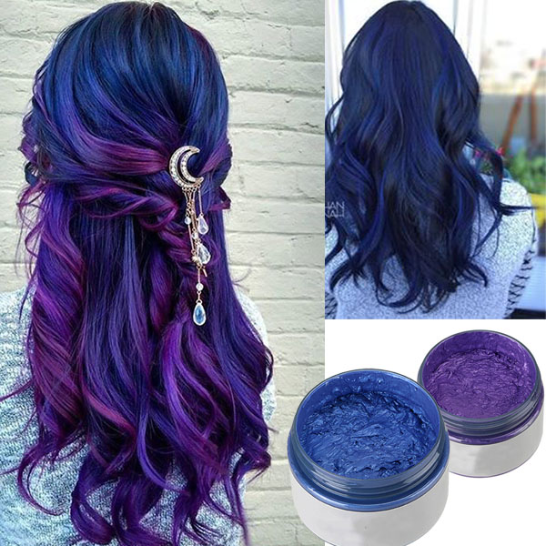 cire coloree cheveux bleu  violet lavable femme unisex fashion hairstyle