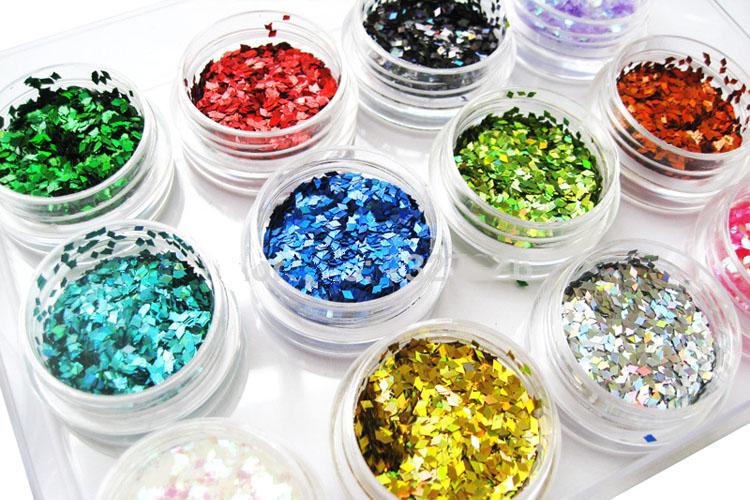 confettis glitter paillettes sequins pour ongles nail art manucure 12 pots losange. Black Bedroom Furniture Sets. Home Design Ideas
