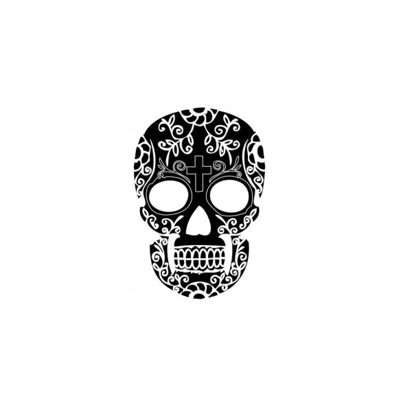 tatouage ephemere 24 tete de mort skull noir tattoo sticker 24. Black Bedroom Furniture Sets. Home Design Ideas