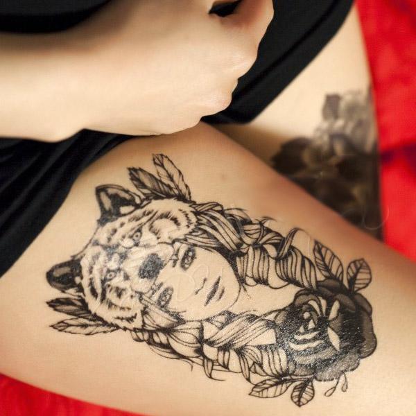 Tatouage Ephemere 21 Grand Visage Fille Loup Beauty Noir Dos Cuisse